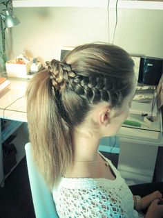 High Ponytail + Little French Braids rylas hair Dance Team Hair, Dance Hairstyles, High Ponytails, About Hair, Girly Things, Girly Stuff, Beyonce, Hair And Nails, Bobby Pins