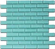 The Crystile series 1 x 3 glass mosaic tile color soft mint C08-2.  Perfect match to the 3 x 6 and 4 x 12 glass subway tiles.
