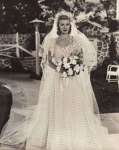 Designers Edward Stevenson and Howard Greer dressed Amanda Cooper (Ginger Rogers) in for the 1938 musical rom-com: pleated stripes of lace are trending in today's bridal gowns—albeit in a slightly subtler way. Movie Wedding Dresses, Wedding Dress Costume, Wedding Movies, Wedding Scene, Ginger Rogers, Vintage Wedding Photos, Vintage Bridal, Vintage Weddings, Vintage Bride Dress