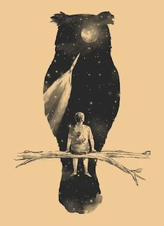 Owl with rocket, stars, moon and man on a branch - tattoo