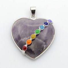 Platinum Tone Brass Gemstone Heart Pendants from Pandahall.com    #pandahall
