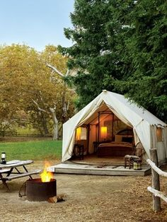 I would love to have my own camp ground in the backyard ... with a bed in the tent! <3
