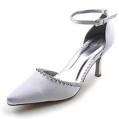 satijn bovenste hoge hak gesloten tenen met strass huwelijk bruids schoenen - EUR € 15.34