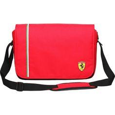 Ferrari Messenger Bag - Red - Messenger Bags ($110) ❤ liked on Polyvore featuring men's fashion, men's bags, men's messenger bags, messenger bags, red and mens laptop messenger bags