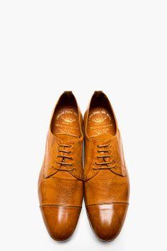 OFFICINE CREATIVE Cognac Burnished Leather Derbys
