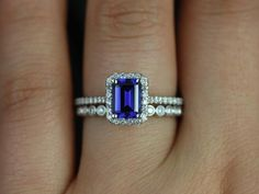 Lisette & Petite Bubbles 14kt White Gold Emerald Cut Blue Sapphire and Diamonds Halo Wedding Set (Other Center Stone Available Upon Request) on Etsy, $1,745.00