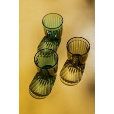 Iittala Raami tumblers in moss green and sea blue, designed by Jasper Morrison.