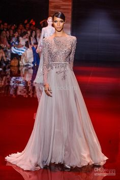 2014 New Sexy Luxurious Evening Dress Elie Saab Bateau Beads Sequins Crystal Long Sleeves Backless Mermaid Fromal Pageant Prom Party Gowns