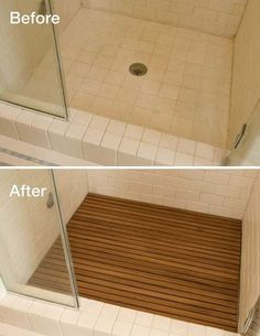 19.Install wooden tiles to the shower floor so it looks more elegant. It will be more resembling a spa in a bathroom to release poles and stress.