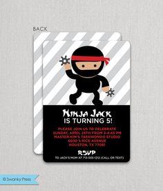 Ninja Birthday Invitation  Ninja Party Invite  Karate