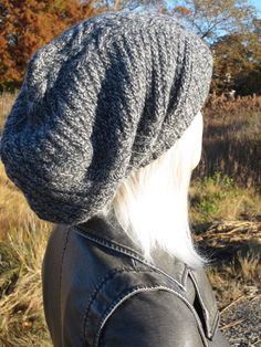 Thick Warm Winter Hat. Mens/Womens Extra Long Slouchy Tam Beanie Lambswool blend knit Oversized Tam Charcoal gray and light Gray Yarn mix Only 4 Made... Hair accessories sold separately..here. http://www.etsy.com/shop/Vacationhouse?section_id=10686460 This is a heavier Wool type hat. Quality yarns Quality knits GREAT GIFTS! Vacationhouse Hats www.Vacationhouse.Etsy.com Measurements: Length 15 Length 13 when cuffed Measurement around Rib 19....... 26 stretche...