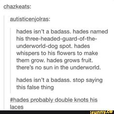 hades, is, nice. Hades isn't a badass Greek Gods And Goddesses, Greek And Roman Mythology, Goddess Names, Moon Goddess, Tio Rick, Lore Olympus, Hades And Persephone, Rick Riordan Books, Percy Jackson Fandom