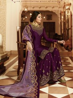 Purple Embroidered Sharara Suit in Crepe.Purple Embroidered Sharara Suit in Crepe for indian partywear Pakistani Gharara, Pakistani Formal Dresses, Pakistani Dress Design, Designer Salwar Kameez, Dress Indian Style, Indian Dresses, Indian Outfits, Sharara Designs, Sharara Suit