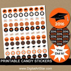 INSTANT DOWNLOAD Orange and Black Graduation by digitalartstar