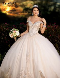 Get the beautiful Beaded Off the Shoulder Quinceañera Dress by Camila Q and other amazing Camila Q quinceanera dresses on Mi Padrino. Quince Dresses Burgundy, Champagne Quinceanera Dresses, Pretty Quinceanera Dresses, Quinceanera Centerpieces, Quinceanera Ideas, Quincenera Dresses White, Candy Centerpieces, Quinceanera Planning, Wedding Centerpieces
