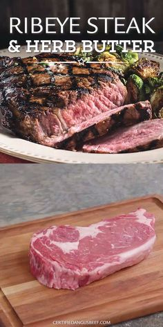Grilled ribeye steak with herb butter melting on top and flavoring each and every bite. This classic steakhouse recipe is easy to make and for any occasion. Recipes videos Ribeye Steak and Herb Butter Steak Marinade Recipes, Grilled Steak Recipes, Grilled Beef, Grilled Steaks, Recipe For Steak, Flank Steak Marinades, Best Ribeye Steak Marinade, Marinade For Skirt Steak, Bison Steak Recipes