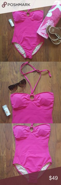 """pink one piece swimsuit Gorgeous and in excellent condition, this Ralph Lauren suit evokes a cool 70's vibe yet feels so modern.  -Outer: 77% Nylon/23% Lycra Spandex -Lining: 100% Nylon smoke-free home -Excellent condition -Width (below bust): 12"""" Length: ~ 19""""  Save 20% on any bundle of 2 or more items! Lauren Ralph Lauren Swim One Pieces"""