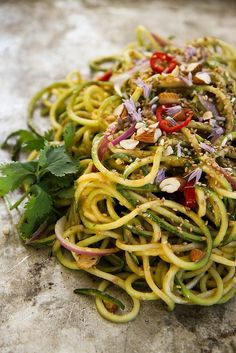 Thai Zucchini Noodle Salad from Heather Christo >>> YUM can't wait to make this!