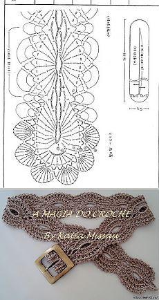 ВЯЗАННЫЙ РЕМЕНЬ КРЮЧКОМ. Crochet Belt, Crochet Diagram, Crochet Cardigan, Filet Crochet, Crochet Yarn, Crochet Top, Crochet Necklace, Crochet Patterns, Crochet Fashion