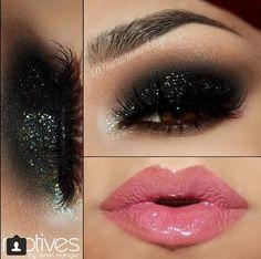 Glitter Eye Makeup #darkpinklips #GlitterEyeshadow