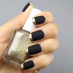 Black Matte Nails with Gold Tips