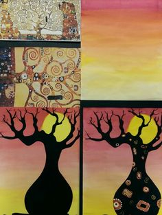 Boab trees in silhouette: inspired by Klimt and Aboriginal dot paintings. Year 3/4