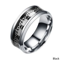 Fashion Woman Jewelry Never Fade Titanium Steel Crown Ring Gold Filled Blue Black Pattern Man Woman Rings Gift #Affiliate