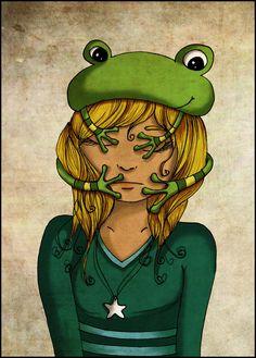Frog, 2009 Position Du Lotus, Frog Illustration, Frog Art, Frogs, Little Girls, Illustrations, Portrait, Cute, People