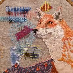 "202 Likes, 20 Comments - Sophie Tomlinson (@sewphiet) on Instagram: ""I think I am done! So happy with this one 😀 #embroidery #broderie #bordado #fox #kantha"""