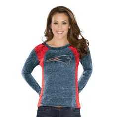 <UL>%0A<li>Touch by Alyssa Milano</li>%0A<li>60% cotton/40% poly burn-out/over-dyed jersey tee</li>%0A<li>Wide scoop neck, long sleeve with slight hi-low effect at hems</li>%0A<li>Contrast color, self-fabric curbed panels at sides and rhinestone logo at front chest</li>%0A<li>Slightly cropped length</li>%0A<li>Darker team color with lighter team color panels</li>%0A</ul>%0A