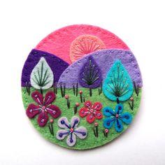 TREESCAPE felt brooch pin with freeform by designedbyjane on Etsy - Felt Diy, Handmade Felt, Felt Crafts, Fabric Crafts, Sewing Crafts, Felt Embroidery, Felt Applique, Embroidery Stitches, Felt Brooch