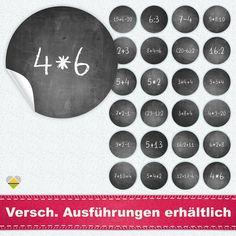 Amazon.de: 24 Adventskalender-Zahlen | Kreidetafel / Schultafel Look | Mathe / Rechenaufgaben |