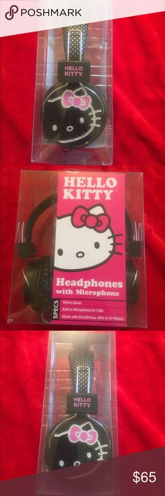 🌟New Listing!🌟 Rare Hello Kitty headphones These Hello Kitty headphones are a must have for any avid collector. They have the same matching super cute blingedout matching Hello Kitty face on both sides and the band is a cute black and white polka dot design! They are very rare and have been out of make for years. They are new in box from a smoke free home! 40mm driver, Built-in microphone for calls. Works with ipod/iPhone,MP3 & CD Players. Hello Kitty Accessories