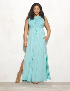 Plus Size | Dresses | Maxi Dresses | Plus Size Eyelet Top Maxi Dress