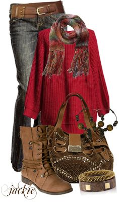 """Red Sweater"" by jackie22 on Polyvore"