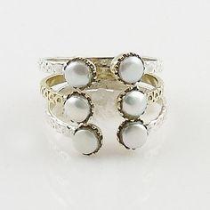 Pearl Two Tone Adjustable Ring – Keja Designs Jewelry