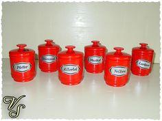 6 Emsa Dosen - Dosenset - 70er - rot - Vintage. Von vintageschippie bei DaWanda.