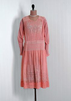 1920's Pink Embroidered and Smocked Cotton Voile Dress