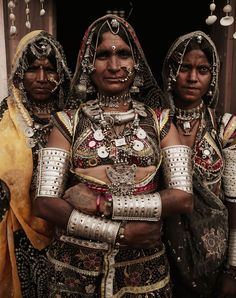 India | Rabari women in Ajabarth Village | ©Jimmy Nelson / Before They Pass Away.  Ethnic and tribal silver jewelry.