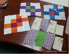 Garlic Knots - Look at half block, sew two strip sets for a nine patch (dark med dark) (white dark white) add white strip to assembled 2/3 nine patch