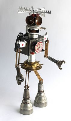 mg - found object robot assemblage sculpture by brian marshall   Flickr - Photo Sharing!