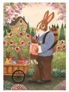 ACEO Original Acrylic Painting folkart landscape Easter bunnies flowers house