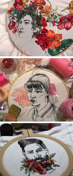 Embroidery Designs Embroidery by Bugambilo // hoop art // embroidered portraits - Artist Bugambilo creates embroidery portraits combining patterning and color with stitched faces that look like they were done with a pen, not thread. Portrait Embroidery, Paper Embroidery, Learn Embroidery, Hand Embroidery Stitches, Embroidery For Beginners, Embroidery Techniques, Flower Embroidery Designs, Embroidery Ideas, Contemporary Embroidery