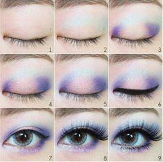 Blue and Pink Eyeshadow Tutorial - Neue Seite - Make-up - Cute Makeup, Pretty Makeup, Beauty Makeup, Casual Makeup, Awesome Makeup, Makeup Style, Gorgeous Makeup, Pastel Goth Makeup, Blue Eye Makeup