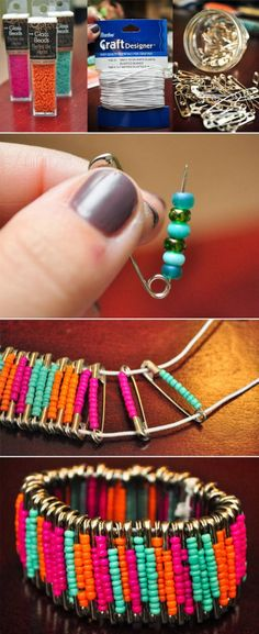 Diy : Beaded Safety Pin Bracelets