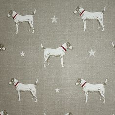 Jack All Star Fabric A linen fabric featuring a charming Jack Russell print with subtle cream stars on truffle.