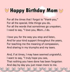 happy birthday mom Birthday message for mom quotes - mom Happy Birthday Mom Letter, Happy Birthday Mom Images, Happy Birthday Mom From Daughter, Birthday Message For Boyfriend, Birthday Wishes For Boyfriend, Birthday Card Sayings, Birthday Cards For Mom, Birthday Wishes Quotes, Birthday Messages
