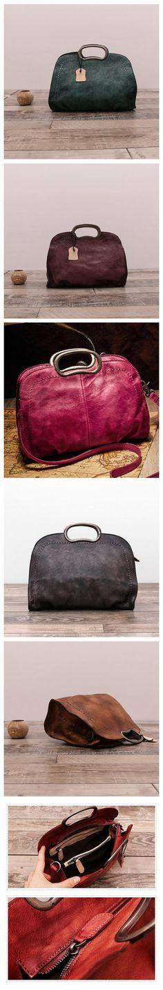 Handmade Natural Leather Handbag Messenger Bag Shoulder Bag for Women in Blue WF51