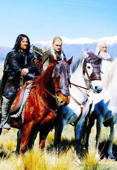 Aragorn, Legolas and Gandalf ~ The Lord of the Rings. Legolas, Gandalf, Aragorn, Thranduil, Beau Film, Jrr Tolkien, Narnia, O Hobbit, Fellowship Of The Ring