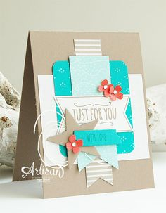 Stampin 'Cards and Memories: Stampin'Up! Artisan bloghop, Cherry On Top DSP Stack and the Banner Tripple Punch punched a few banners. The label, star, and washi tape punched with shapes of the Mini Treat Bag Thinlits Dies . Small flowers are punched with the itty bitty Accents Pack Punch